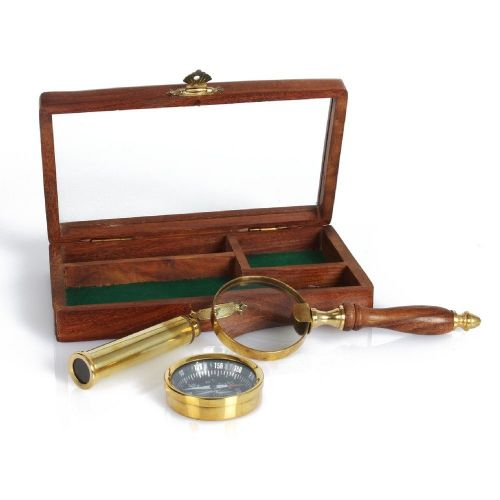 Brass Telescope, Compass and Magnifying Glass Retro Gift Set For Men